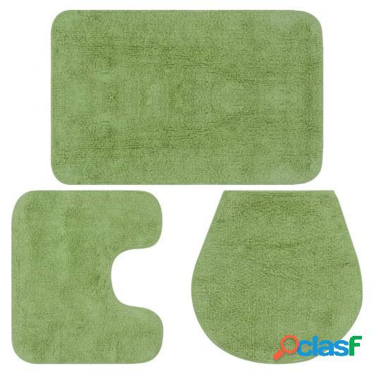 Conjunto de alfombrillas de baño de tela 3 piezas verde