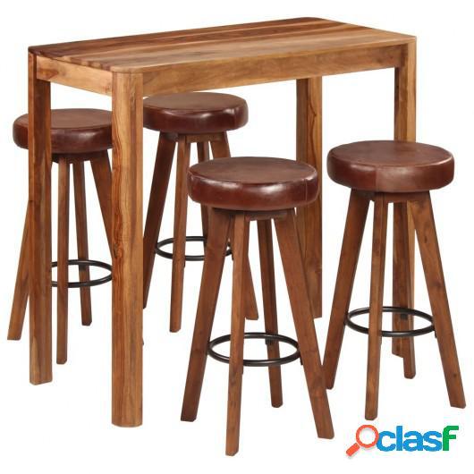 Conjunto de bar 5 pzas madera maciza de sheesham 115x56x107