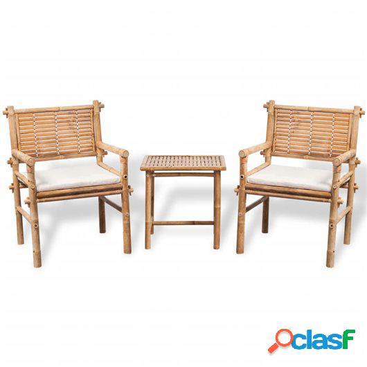 Conjunto de bar de jardín 3 piezas con cojines bambú