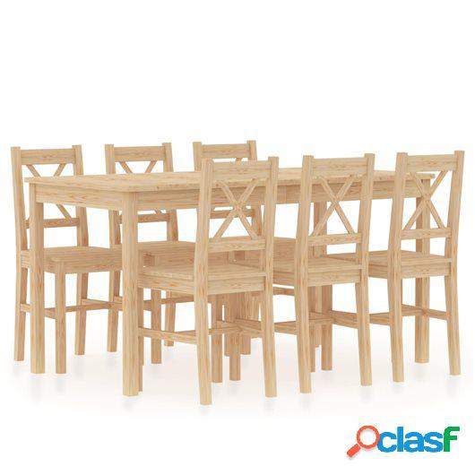 Conjunto de comedor 7 piezas madera de pino