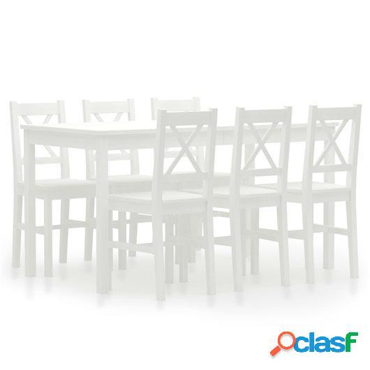 Conjunto de comedor 7 piezas madera de pino blanco