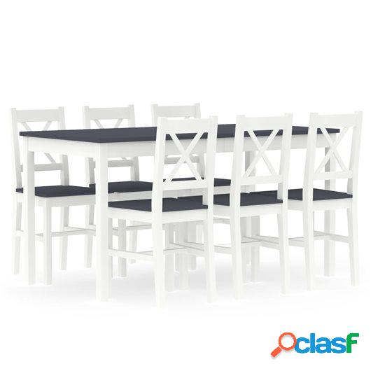 Conjunto de comedor 7 piezas madera de pino blanco y gris
