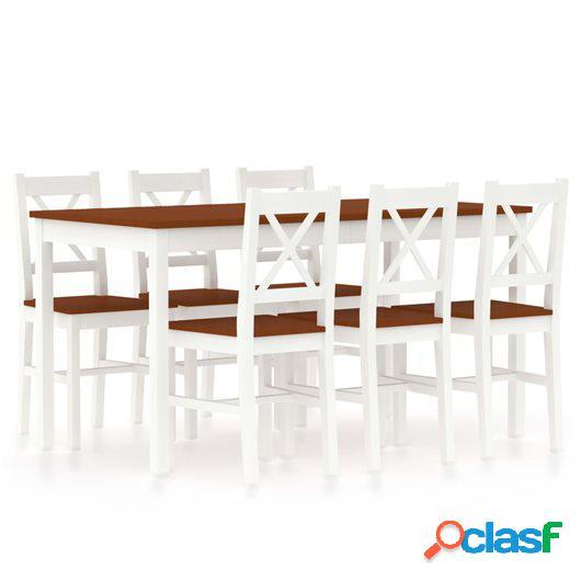 Conjunto de comedor 7 piezas madera de pino blanco y marrón