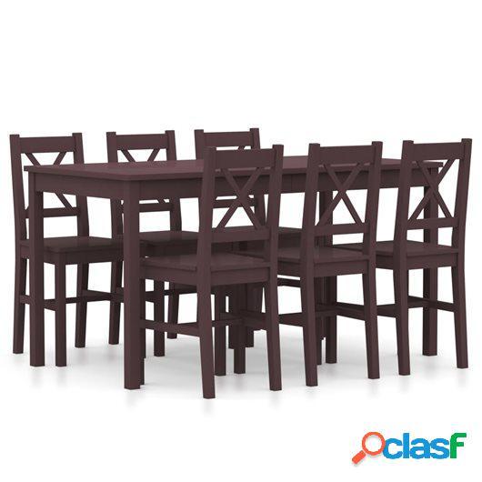 Conjunto de comedor 7 piezas madera de pino marrón oscuro