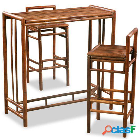 Conjunto de comedor de bambú 3 piezas marrón