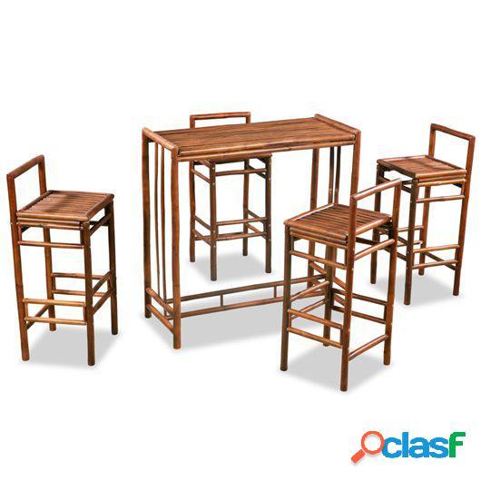 Conjunto de comedor de bambú 5 piezas marrón