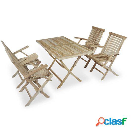 Conjunto de comedor de jardín 5 piezas madera maciza de