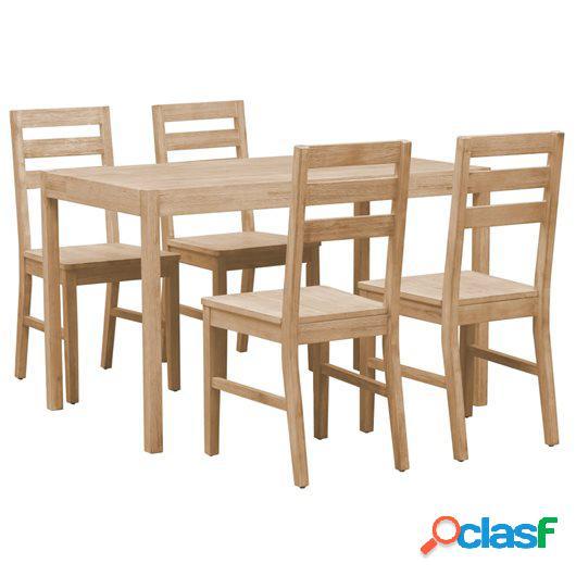 Conjunto de comedor de madera maciza de acacia 5 piezas