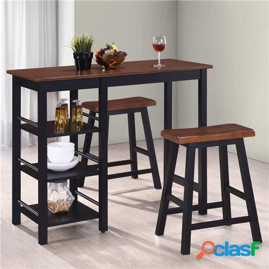 Conjunto de mesa alta de cocina 3 piezas MDF negro