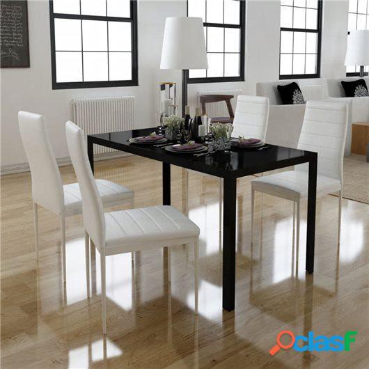 Conjunto de mesa de comedor 5 piezas blanco y negro