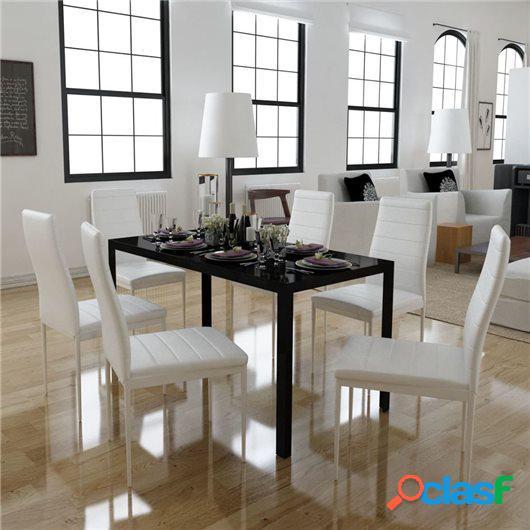 Conjunto de mesa de comedor 7 piezas blanco y negro