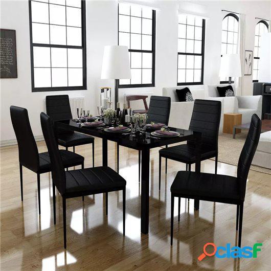 Conjunto de mesa de comedor siete piezas negro