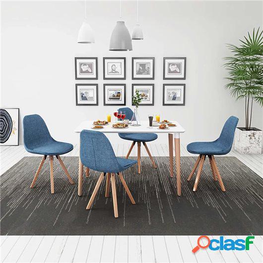 Conjunto de mesa de comedor y sillas 5 piezas blanco y azul