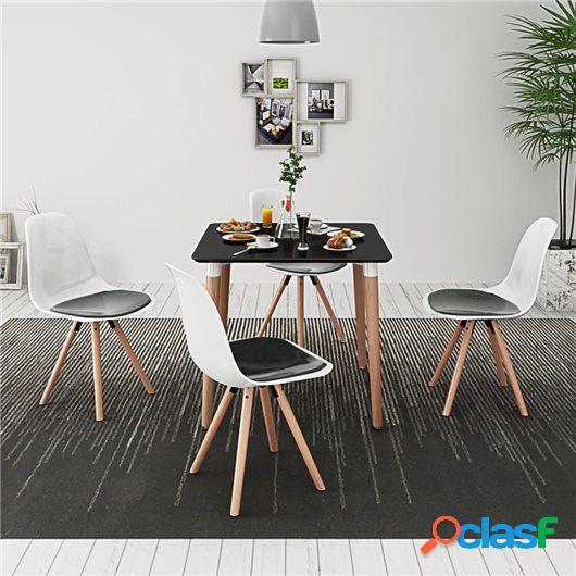 Conjunto de mesa de comedor y sillas 5 piezas negro y blanco