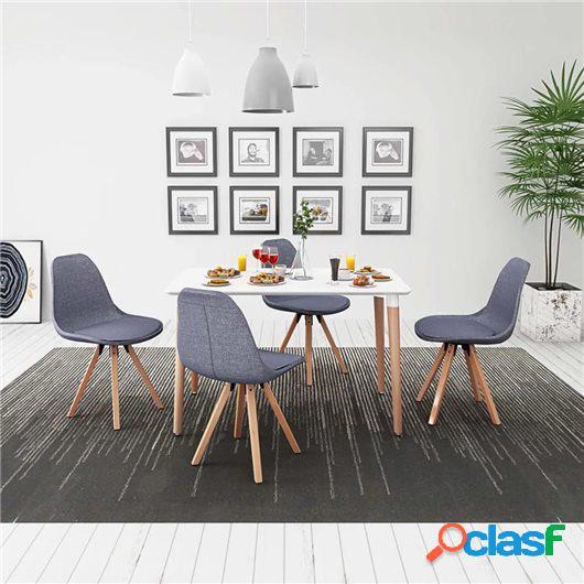 Conjunto de mesa de comedor y sillas 5 uds blanco y gris
