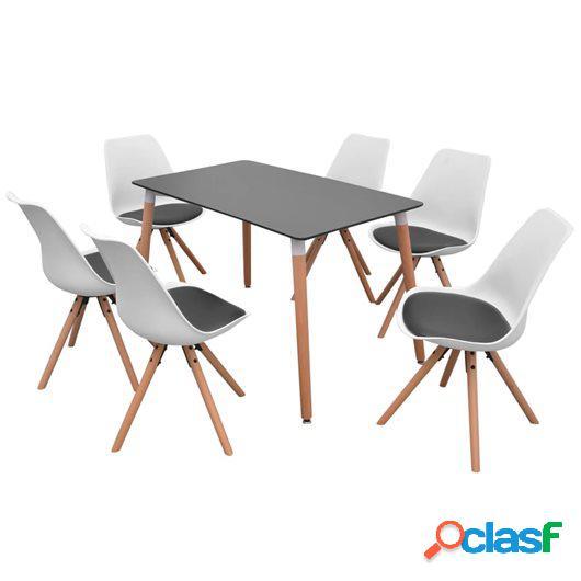 Conjunto de mesa de comedor y sillas 7 piezas blanco y negro