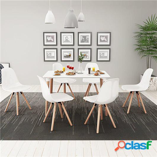 Conjunto de mesa de comedor y sillas 7 uds blanco