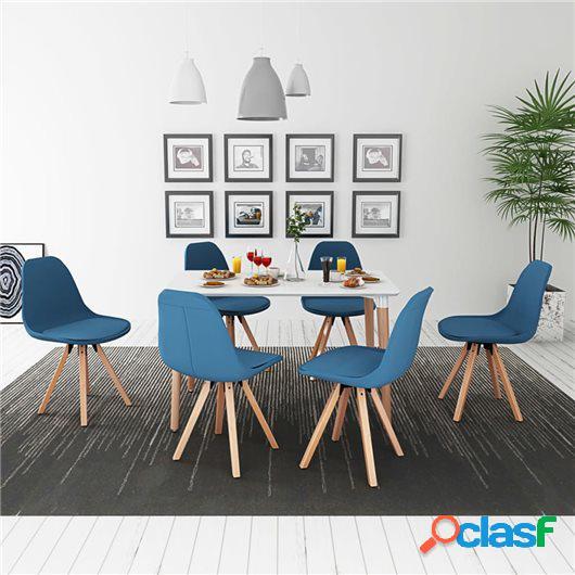 Conjunto de mesa de comedor y sillas 7 uds blanco y azul