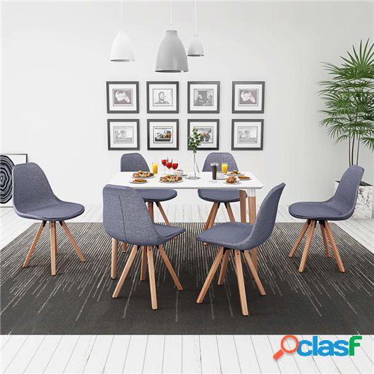 Conjunto de mesa de comedor y sillas 7 uds blanco y gris