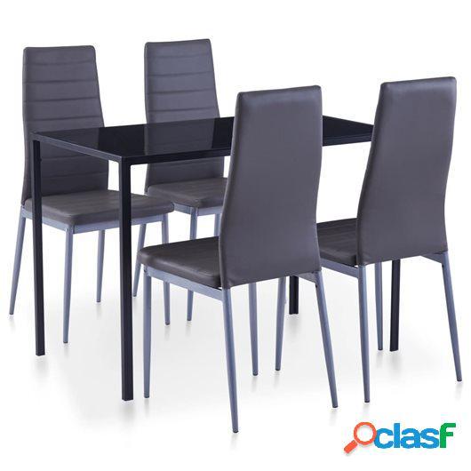 Conjunto de mesa y sillas de comedor 5 piezas gris
