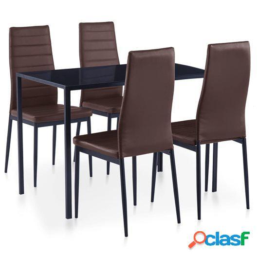 Conjunto de mesa y sillas de comedor 5 piezas marrón