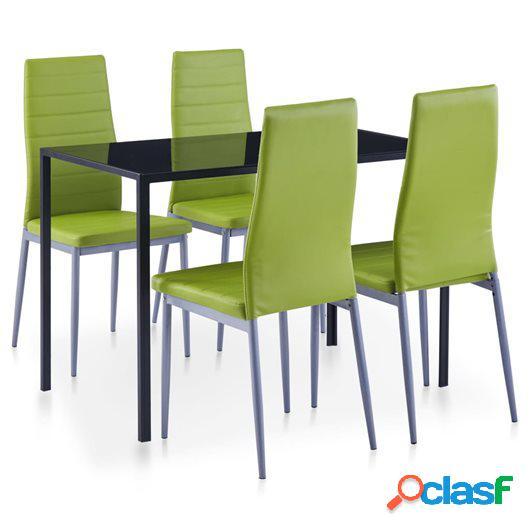 Conjunto de mesa y sillas de comedor 5 piezas verde