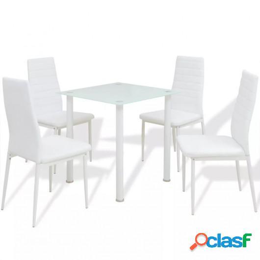 Conjunto de mesas y sillas de comedor de cinco piezas blanco