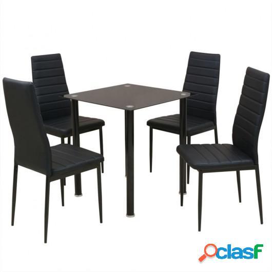 Conjunto de mesas y sillas de comedor de cinco piezas negro