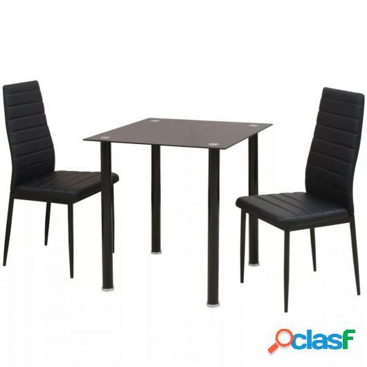 Conjunto de mesas y sillas de comedor de tres piezas negro