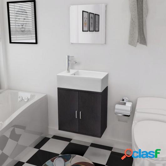 Conjunto de mueble y lavabo 3 piezas negro