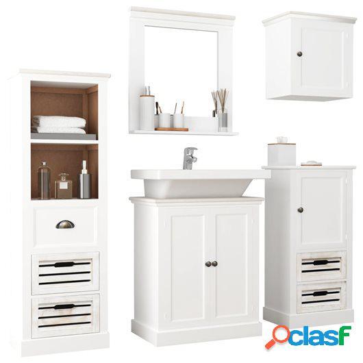 Conjunto de muebles de baño de 5 piezas madera maciza
