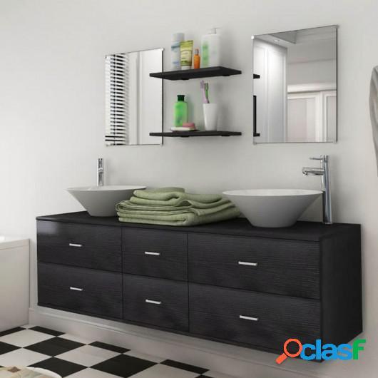 Conjunto de muebles de baño y lavabo 7 piezas negro