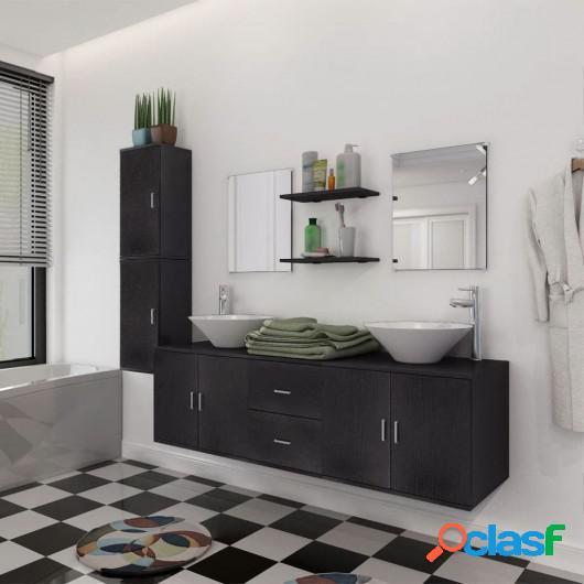 Conjunto de muebles de baño y lavabo 9 piezas negro