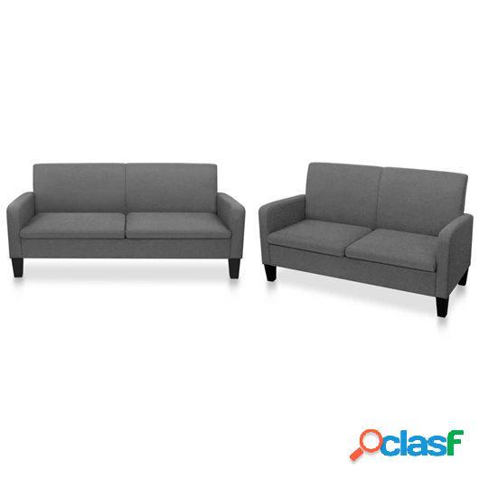 Conjunto de sofás de 2 piezas tela gris oscuro