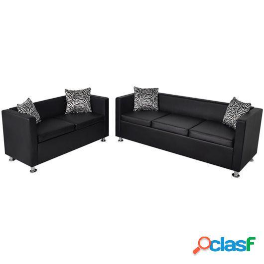 Conjunto de sofás de 2 y 3 plazas de cuero artificial negro