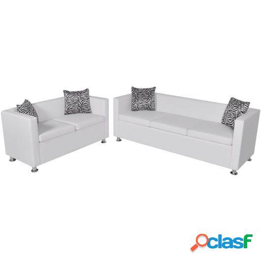 Conjunto de sofás de 2 y 3 plazas y sillón de cuero