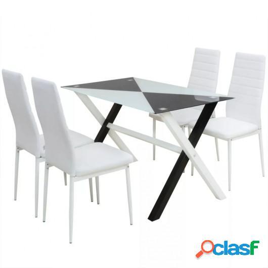 Conjunto mesas y sillas de comedor cinco piezas cuero sint.