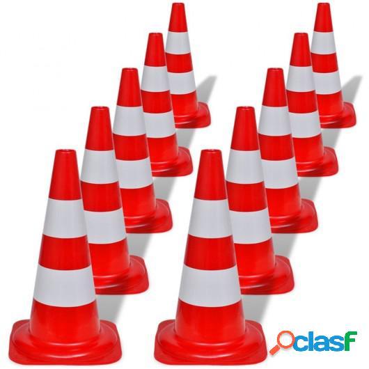 Conos de tráfico reflectantes rojos y blancos 50cm (10