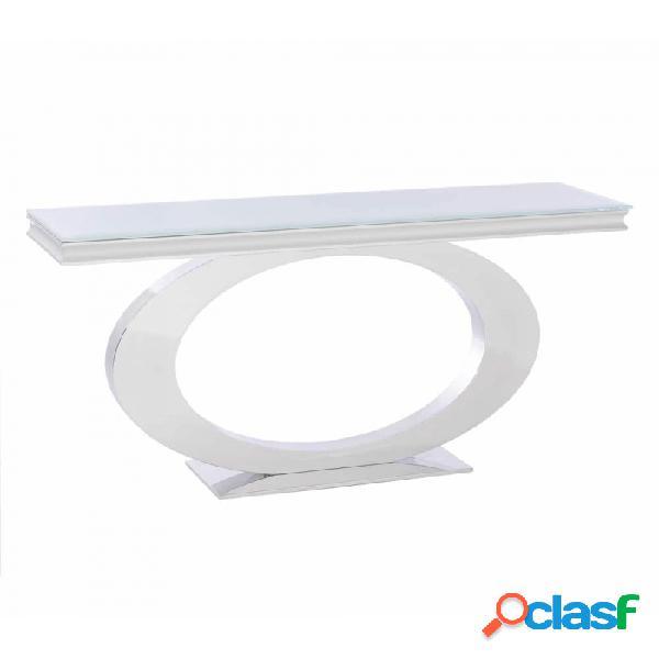 Consola Blanco Cristal Acero Y Moderno 140.00 X 40.00 75.00