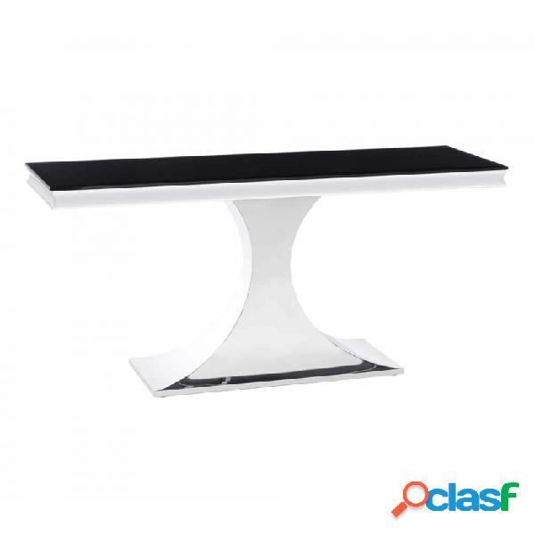 Consola Negro Plata Cristal Acero Y Moderno 140.00 X 45.00