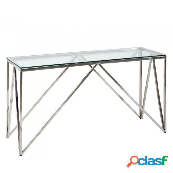 Consola Plata Cristal Acero Y Moderno 127.00 X 40.00 78.00