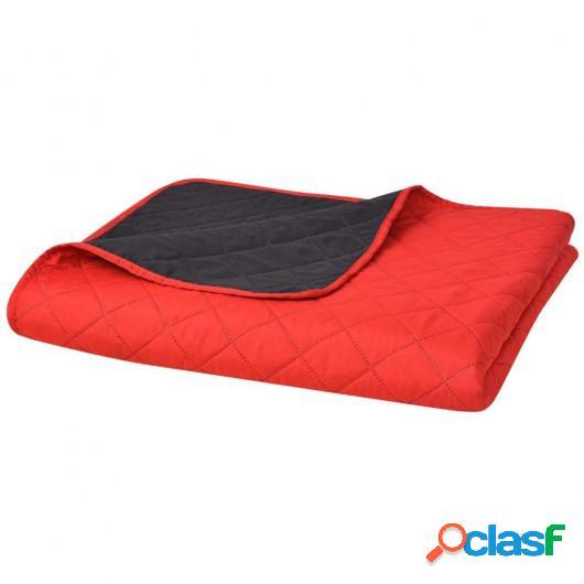 Cubrecama acolchado doble cara 220x240 cm rojo y negro