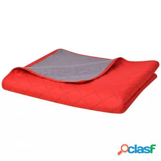 Cubrecama acolchado doble cara 230x260 cm rojo y gris
