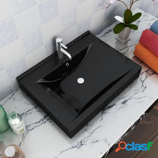 Elegante lavabo rectangular de ceramica negro agujero para