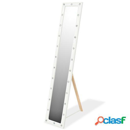 Espejo de pie de cuero artificial 30x150 cm blanco brillante