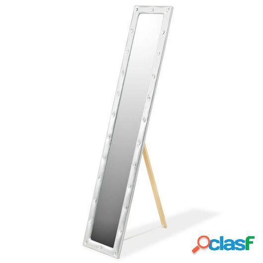 Espejo de pie de cuero artificial 30x150 cm plateado