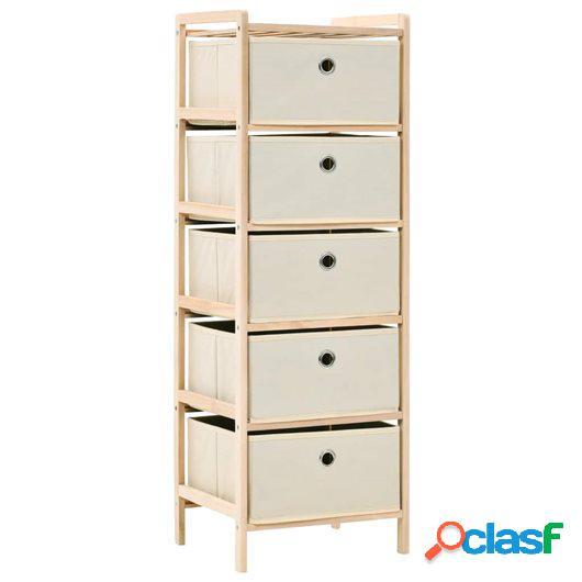 Estante de almacenamiento 5 cestas tela y madera cedro beige