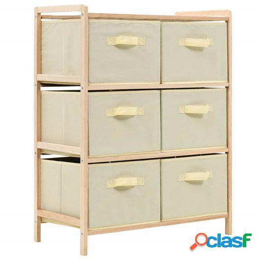 Estante de almacenamiento 6 cestas tela y madera cedro beige