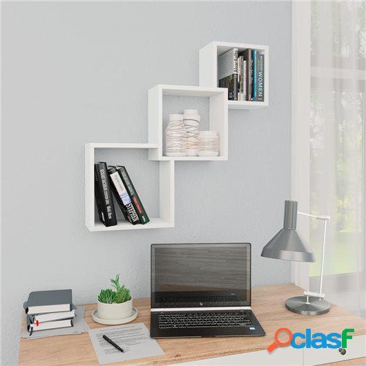 Estante de pared de cubo de aglomerado blanco 84,5x15x27 cm