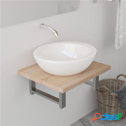 Estante de pared para lavabo color roble 40x40x16,3 cm